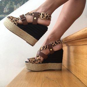 Nine West leopard wedges